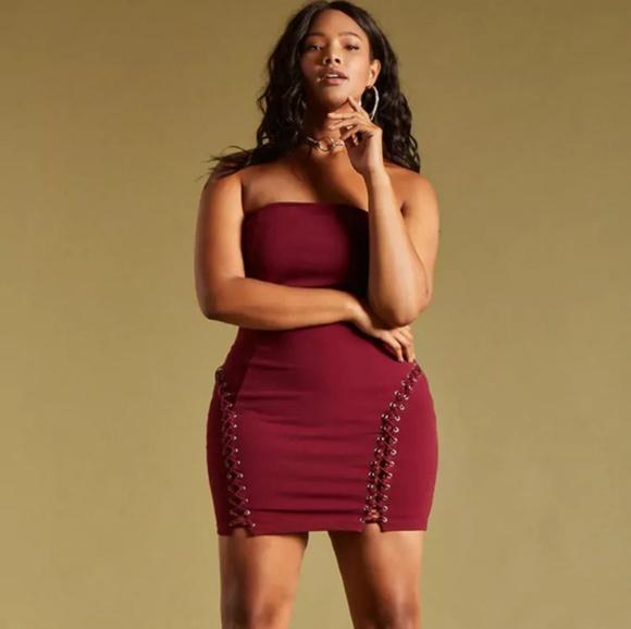 Forever 21 Dresses Plus Size Lace Up Tube Dress Poshmark